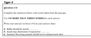 IELTS Reading sentence completion questions